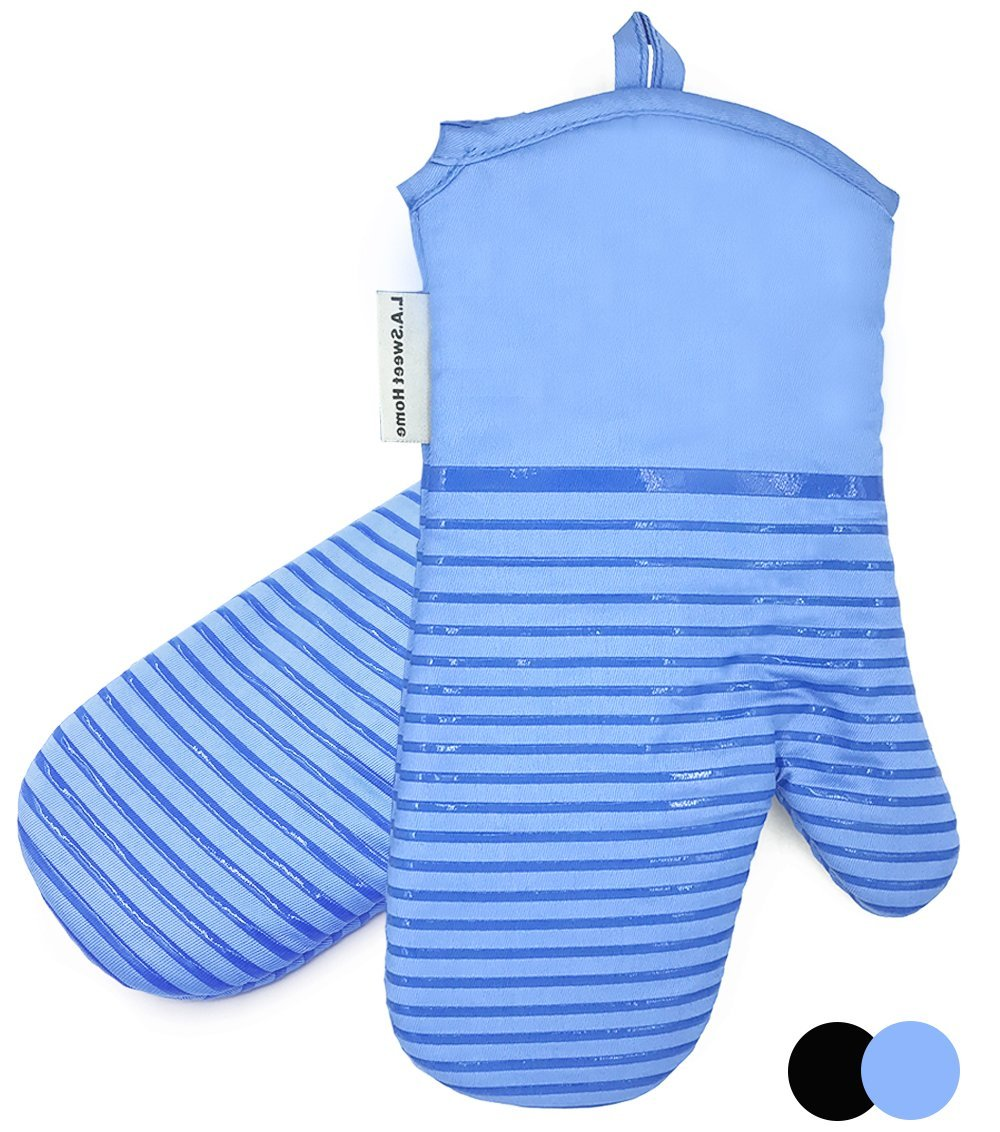 Silicone Oven Mitts Cooking Gloves Heat 480 F Resistant Striped Non-Slip Grip PotHolders for Kitchen Oven, BBQ Grill and Fire Pits for Cooking, Baking 1 pair LA Sweet Home (Light Blue)