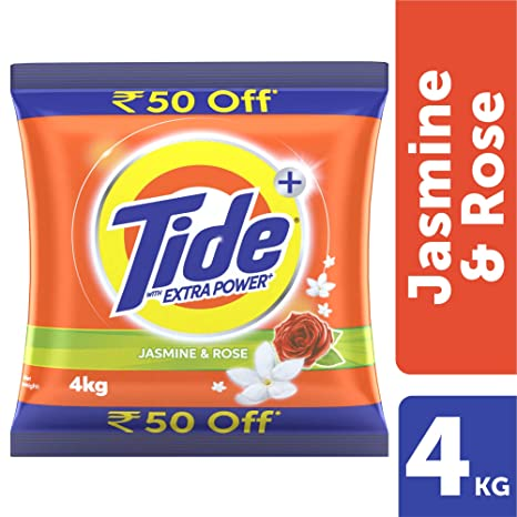 Tide Plus Extra Power Detergent Washing Powder - 4 kg (Jasmine and Rose, Rupees 50 Off)
