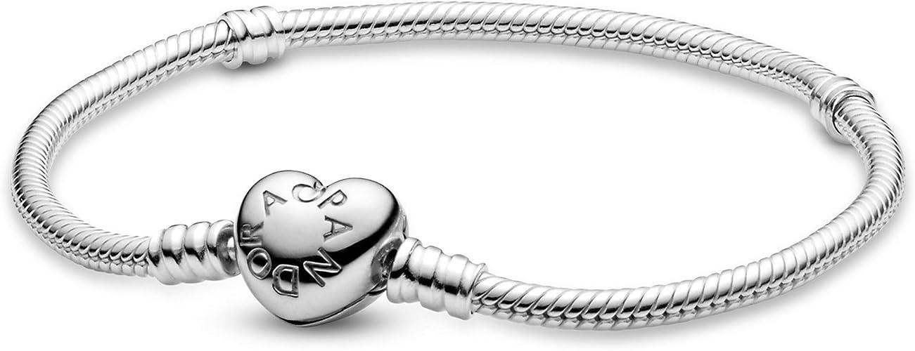 Pandora Jewellery Moments Heart Clasp Snake Chain Charm Sterling Silver  Bracelet, Size 8.3