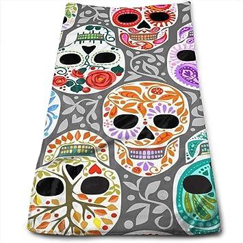 ewtretr Toallas De Mano, Watercolor Skull Calaveras Cool Towel Beach Towel Instant Cool Ice Towel