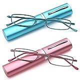 DOUBLETAKE Women's Reading Glasses - 2 Pairs Slim