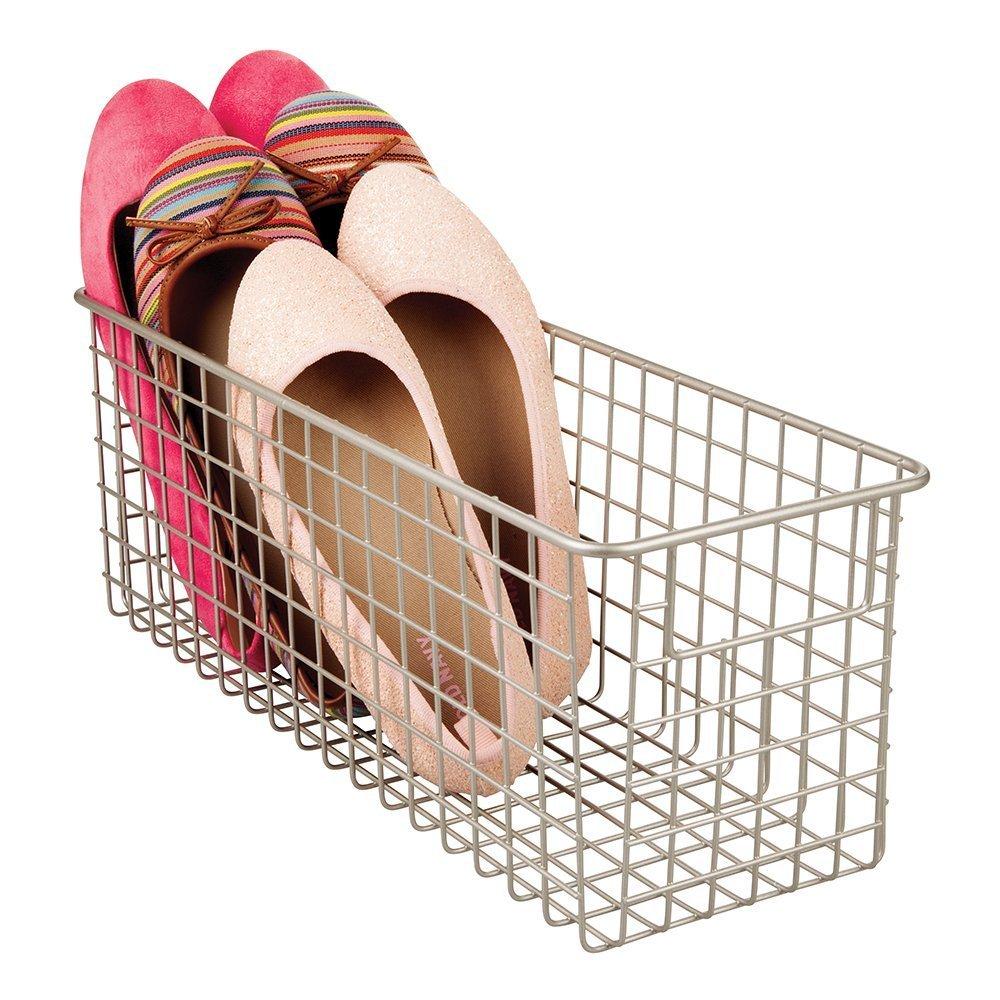 Color satinado mDesign cesta metalica para los productos de limpieza de sus zapatos Cesta organizadora provista de asas para un c/ómodo transporte