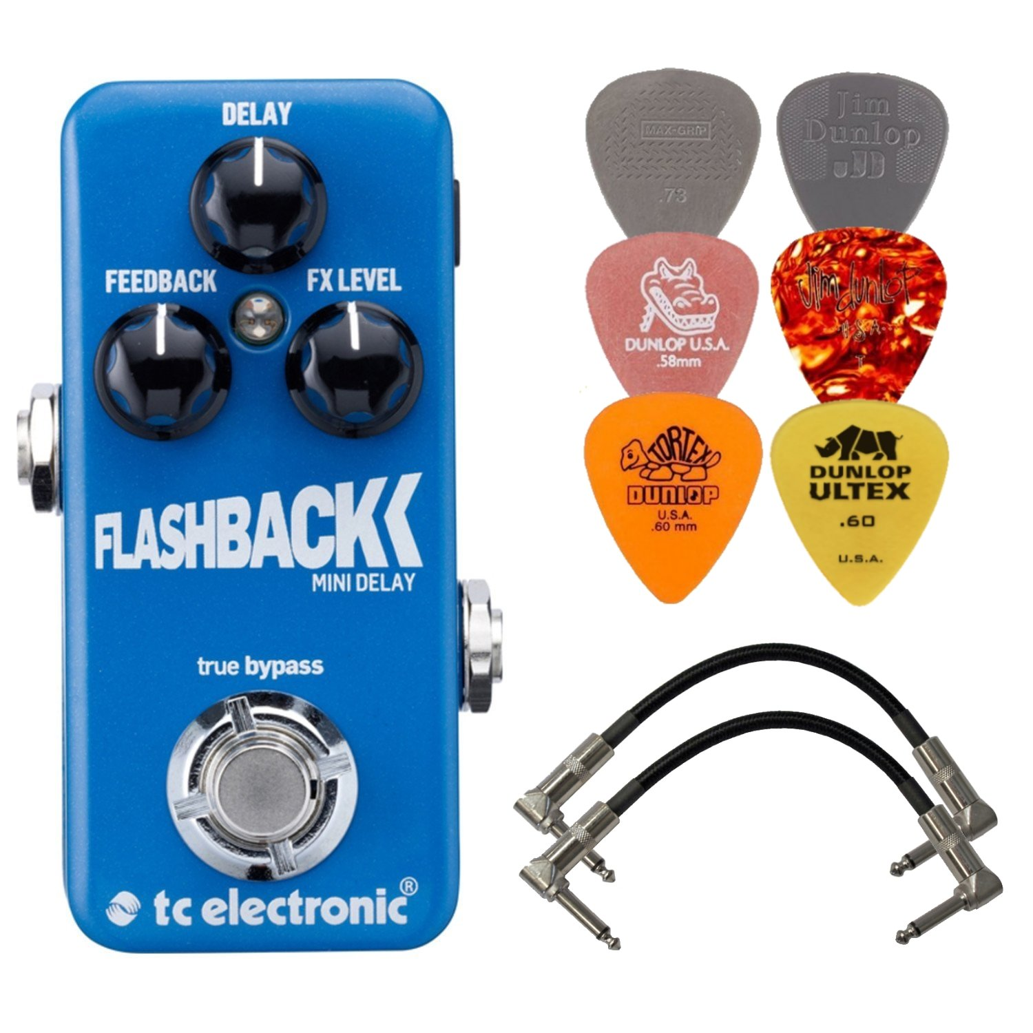 TC Electronic Flashback Mini Delay Effects Pedal BUNDLE w/ 2 Patch Cables and 6 Assorted Dunlop Picks