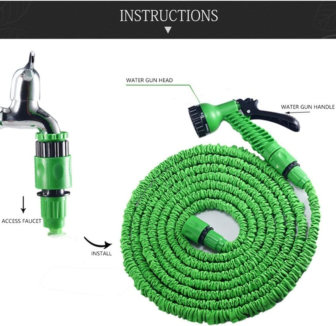 Pressure hose kit 15-45m Telescopic Pipe Expandable Magic Flexible Garden Watering Hose with Spray Gun Set (Green/blue) (Color : Blue) Green