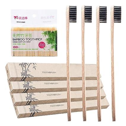 Cepillo de Dientes de Bambú con Cerdas de Carbón - Blanqueamiento Natural  para los Dientes - aa8647693df8