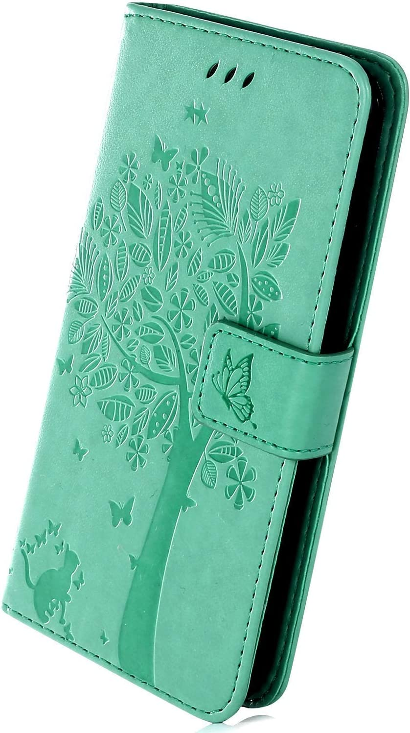 Herbests Compatible with Samsung Galaxy Note 10 Plus Wallet Case Embossed Tree Butterfly Cat Pattern Slim Protective Case Premium Leather Flip Case with Card Holder Kickstand Magnetic,Blue
