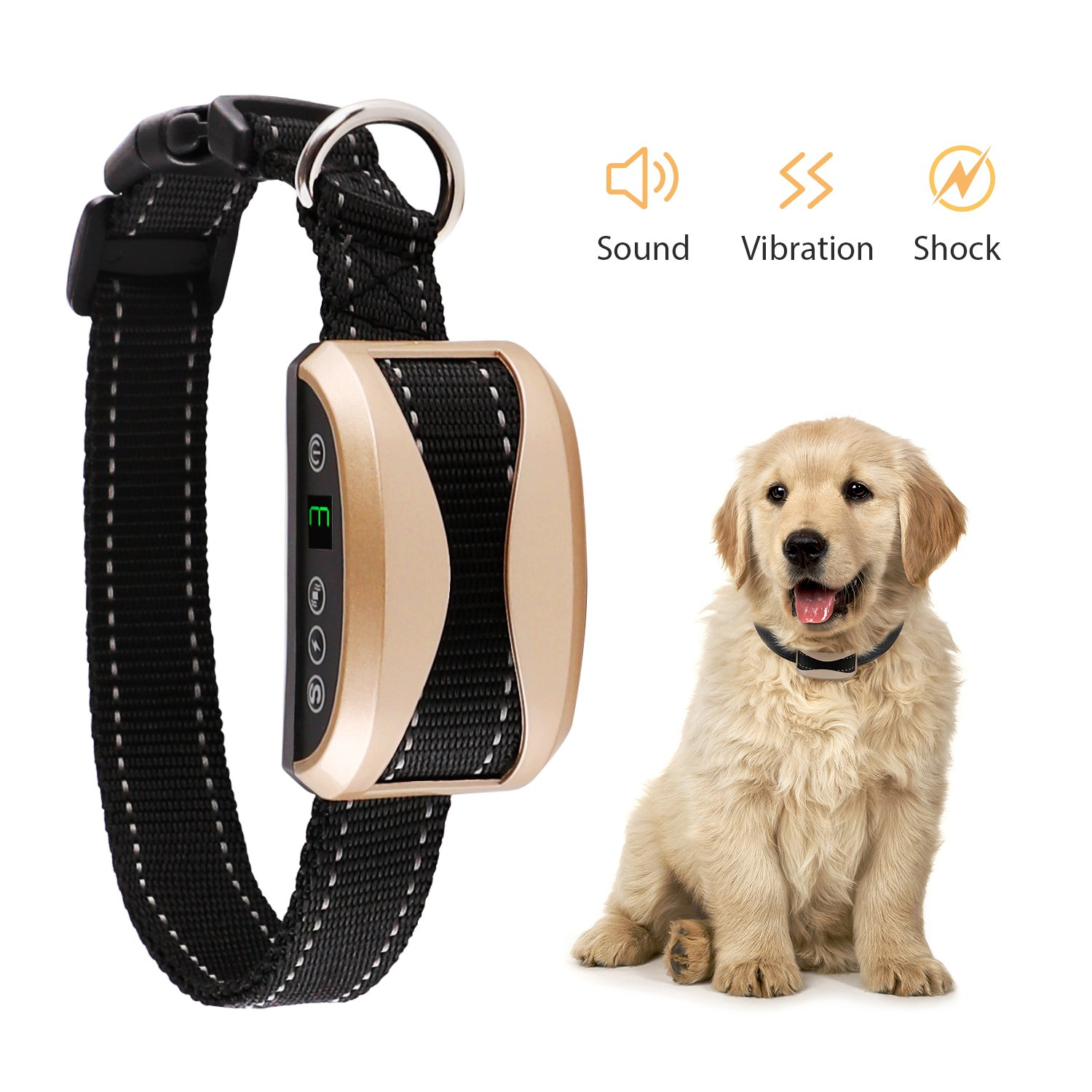 Bark Collar [2018 Smart Chip] Dog Shock Anti-Barking Collar with Beep, Vibration and Harmless Shock Rechargeable No Bark Control for Small/ Medium/ Large Dogs  with 7 Sensitivity Levels.