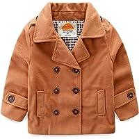 Mud Kingdom Baby Boy Bomber Jacket Plain Faux Wool Coat