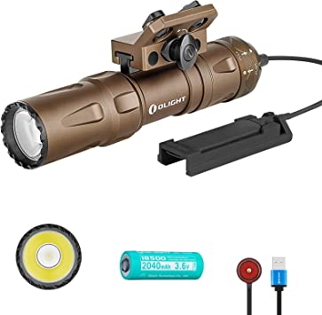 Olight Odin Mini 1250 Lumens Magnetic Rechargeable M-LOK Mount 18500 Tactical Flashlight with Quick Release Mount and Remote Switch, SKYBEN Battery Case Included (Desert Tan)