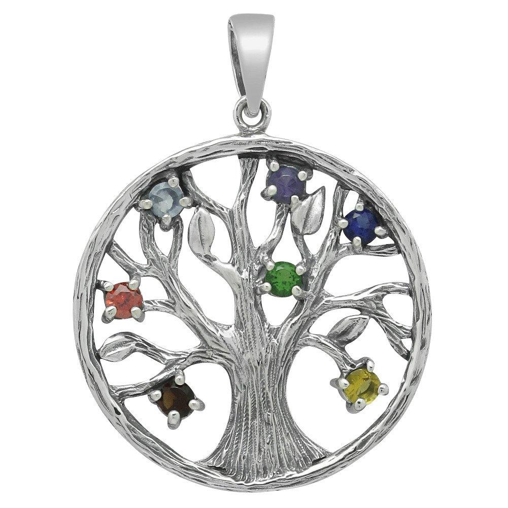 schmuxxi Weltenbaum Lebensbaum Yggdrasil Anhänger 925 Silber mit 7 Chakra Steine (Durchmesser 30mm) Motiv Dunkel Silver 2013-6152