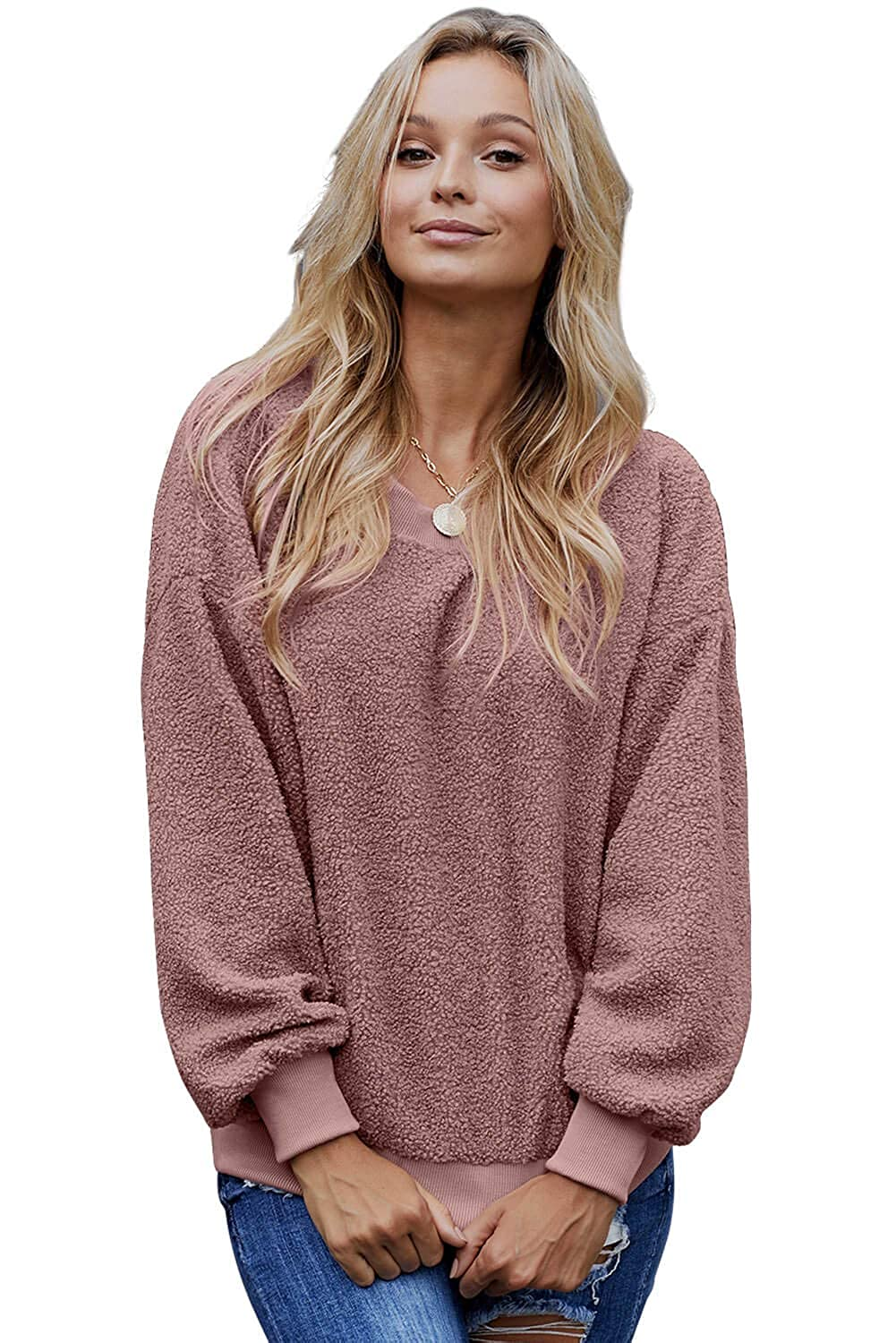 Womens Fuzzy Knitted Sweater Long Sleeve Crew Neck Comfy Loose Side Slit Pullover Tops