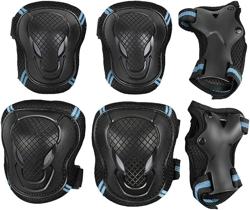 Teen Girls Boys Skating Knee Pads Elbow Braces Wrist Support Set Students Compression Adjustable Collision Avoidance Skate Roller Ski Cycling Kneepads Elbow Wrist Braces Support Christmas Gift