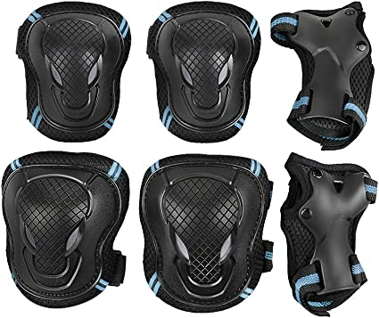 6 in 1 Knee Elbow Pads Wrist Guards Adult Teen Skateboard Protective Gear