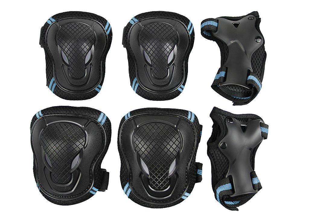 Teens Knee Elbow Wrist Braces Pads Set Reflective Adjustable Collision Avoidance Skate Roller Blading Skateboarding Biking Knee Braces Support Elbow Pads Wrist Guards Protector Kneepad