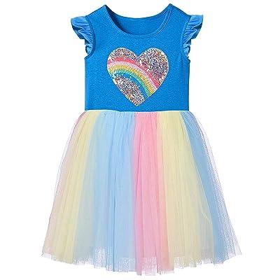 Fiream Unicorn Girls Dresses Rainbow Tutu Tulle Casual Dress