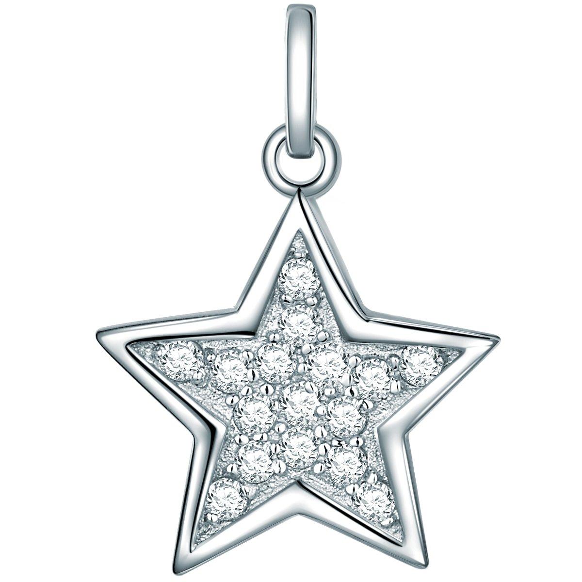 Rafaela Donata Damen-Anhänger Stern Zirkonia weiß 925 Sterling Silber - Damen-Schmuck in Stern-Form Ideal als Weihnachtsgeschenk 60837040 Classic Collection