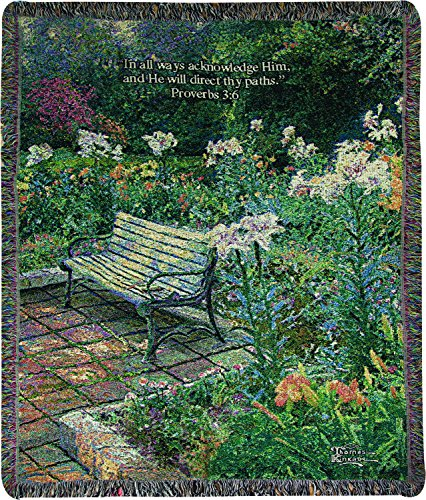 Manual Woodworkers & Weavers Tapestry Throw, Thomas Kinkade Eternal Springtime Proverbs 3:6, 50 x 60
