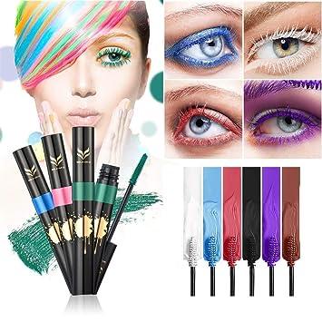 a7791a56159 Amazon.com : FantasyDay 6Pcs Colors Rainbow Colorful Mascara Waterproof Color  Mascara Colorful Eyelash Makeup 3D Fiber Lash Mascara Volume Eye lash ...