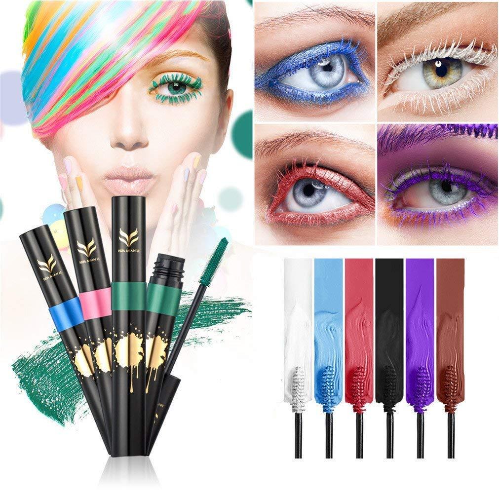 FantasyDay 6Pcs Colors Rainbow Colorful Mascara Waterproof Color Mascara Colorful Eyelash Makeup 3D Fiber Lash Mascara Volume Eye lash Lengthening Gel Perfect Gift for Girls Kids Women by FantasyDay (Image #1)