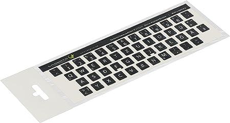 Pegatinas de teclado alemán de Lacerto para teclados de PC y portátil, diversos tamaños, con protección de mate laminado. negro Negro 11x13mm