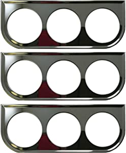Sherco-Auto (3) Universal Chrome Under Dash Triple Gauge Mounting Panel 2-1/16 Inch