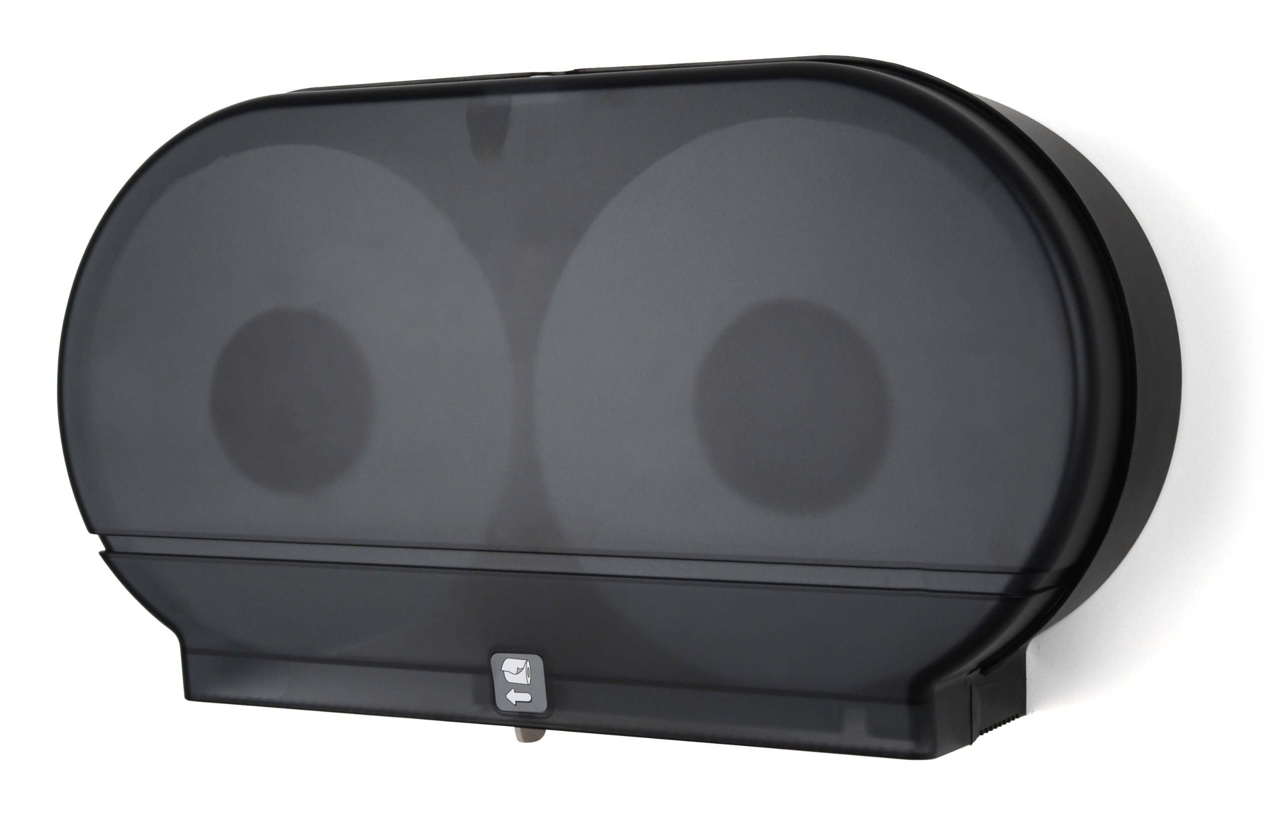 Palmer Fixture RD0027-02F Twin Jumbo Tissue Dispenser with Core Adaptor, Black Translucent