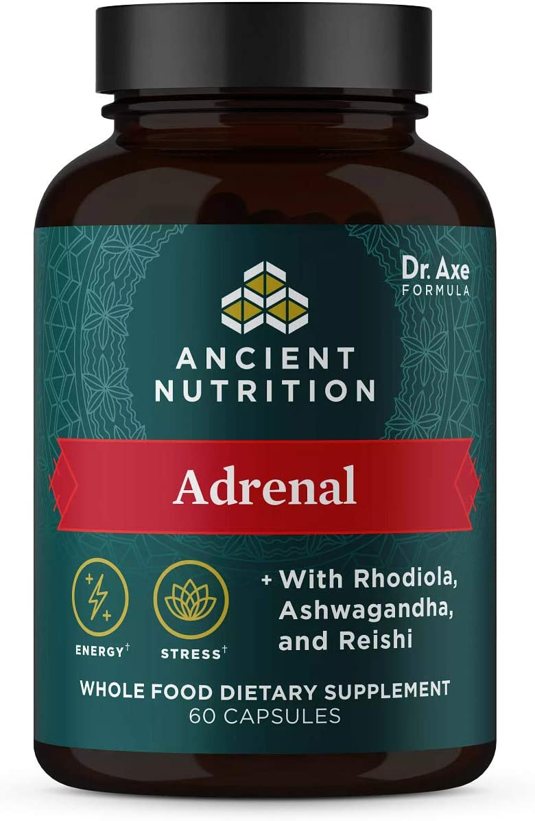 Ancient Nutrition Adrenal, Whole Food Dietary Supplement, Helps Reduce Stress & Fatigue† Formulated by Dr. Josh Axe with Ashwagandha, Rhodiola & Reishi for Optimal Adrenal Support, 1300mg, 60 capsules