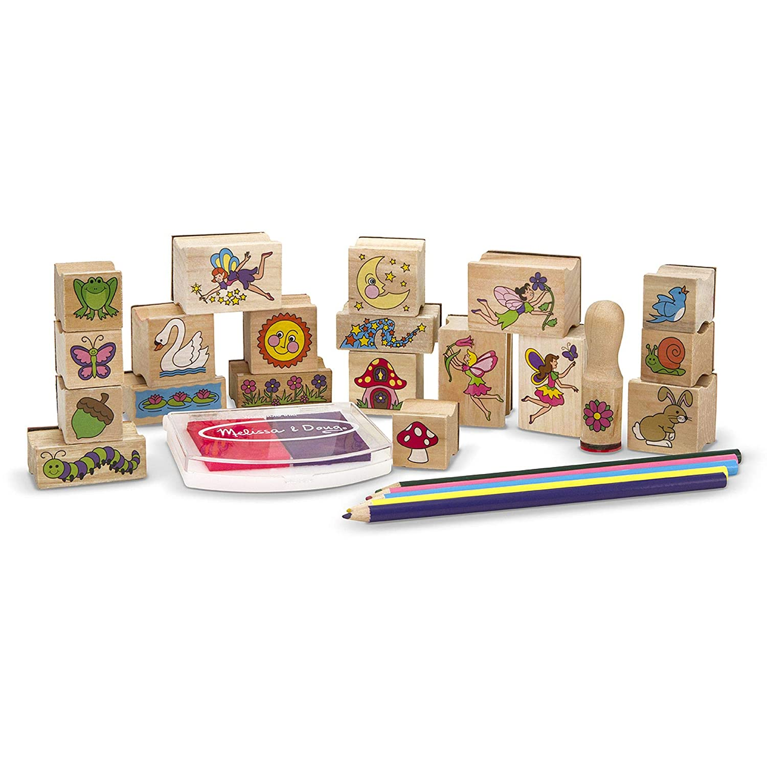 "Melissa & Doug Stamp-a-Scene Wooden Stamp Set: Fairy Garden, 20 Wooden Stamps, 5 Colored Pencils, and 2-Color Stamp Pad, 10.5"" H x 11.25"" W x 1.5"" L"
