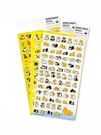 Mind wave japanese dogs clear mini sticker sheet shiba bulldog pack of 3