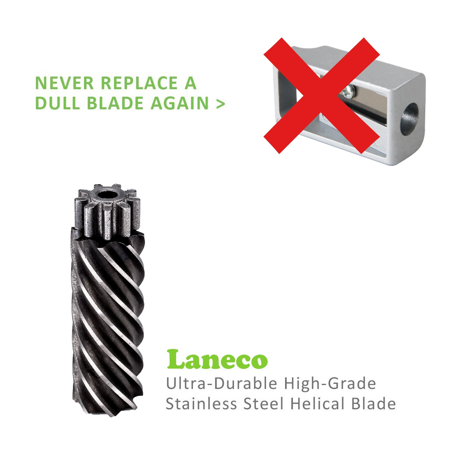 Battery Operated Electric pencil sharpener, Laneco Heavy Duty Helical Blade Pencil Sharpener for Classroom, Office, School, Kids, Teachers, Artists and Adults by Laneco (Image #4)