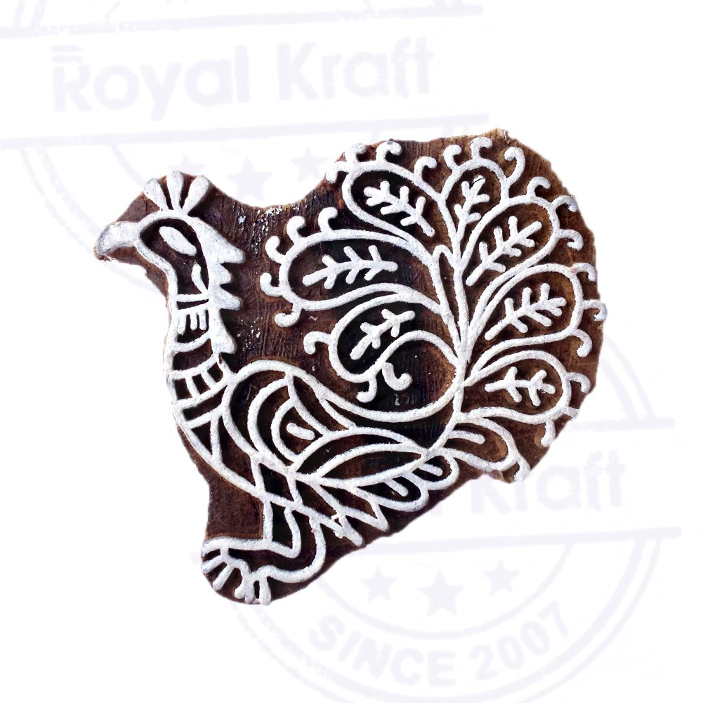 DIY Henna Fabric Textile Paper Clay Pottery Block Printing Stamp Creative Wooden Stamps Deer Pattern Printing Blocks