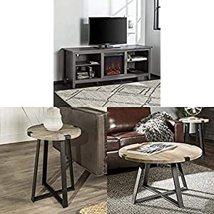 Walker Edison Furniture Company Farmhouse Wood Fireplace Universal Stand for TV with WE Furniture Round Metal Side End Accent Table, 18 Inch and Round Metal Coffee Accent Table, 30 Inch, Grey,Black