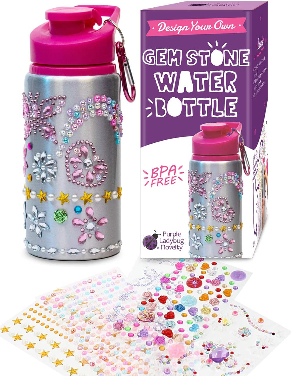 PurpleLadybugNovelty – Crea tu Propia Botella de Agua Personalizada con Pegatinas de Gemas Brillantes – Botella de Agua para Niños - Sin BPA - 590 ml – Ideal Regalo para Niña - Divertido DIY