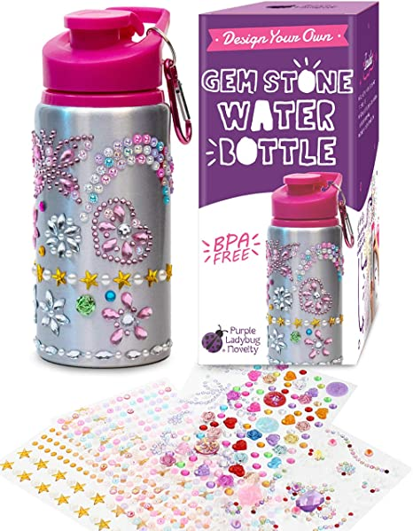 Purple Ladybug Decorate Your Own Water Bottle for Girls with Tons of  Rhinestone Glitter Gem Stickers! BPA Free, 12 oz Kids Water Bottle Craft  Kit -
