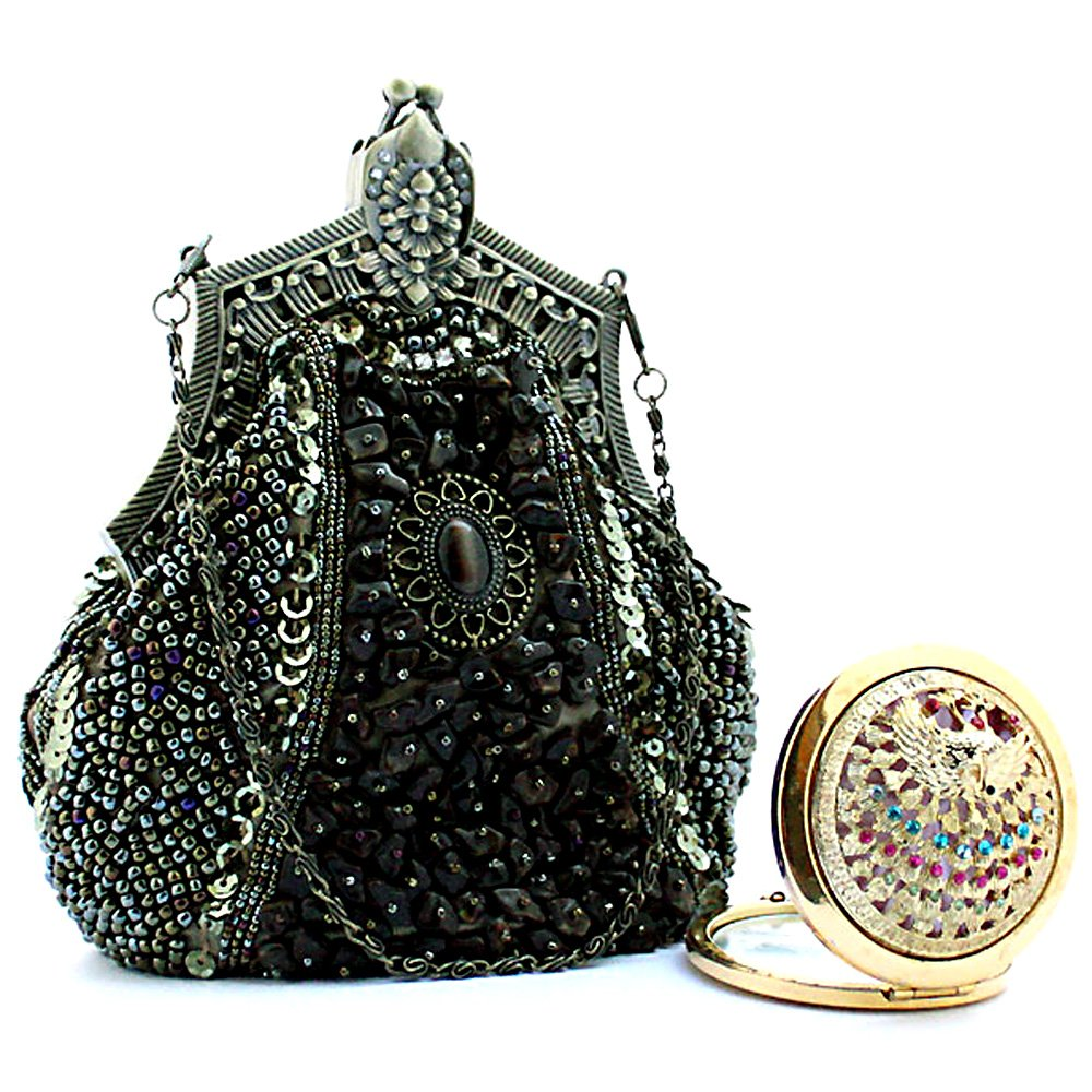 Victorian Wigs, Hand Fan, Purse, Gloves Accessories  Beaded Victorian Clutch Handbag Vintage Evening Purse Holiday Party Gift $35.00 AT vintagedancer.com