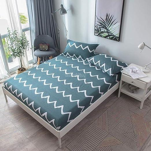 Hllhpc Hermosas sábanas de Lino Estampadas con Hojas Verdes ...