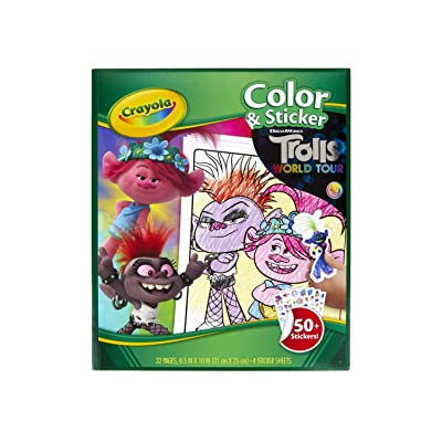 Crayola Trolls World Tour, Color & Sticker Activity, Trolls 2, Trolls Coloring Book, 32 Coloring Pages, Gift for Kids, Ages 3, 4, 5, 6, Multi, Model Number: 04-0917-0-000: Toys & Games