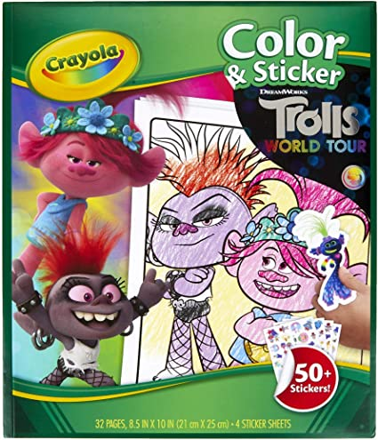 Amazon.com: Crayola Trolls World Tour, Color & Sticker Activity, Trolls 2, Trolls  Coloring Book, 32 Coloring Pages, Gift For Kids, Ages 3, 4, 5, 6, Multi,  Model Number: 04-0917-0-000: Toys & Games