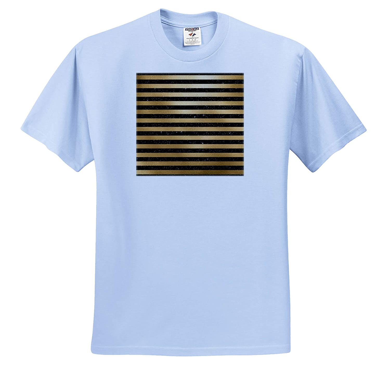 3dRose Anne Marie Baugh Chic Gold Color and Black Image of Glitter Pattern T-Shirts Patterns