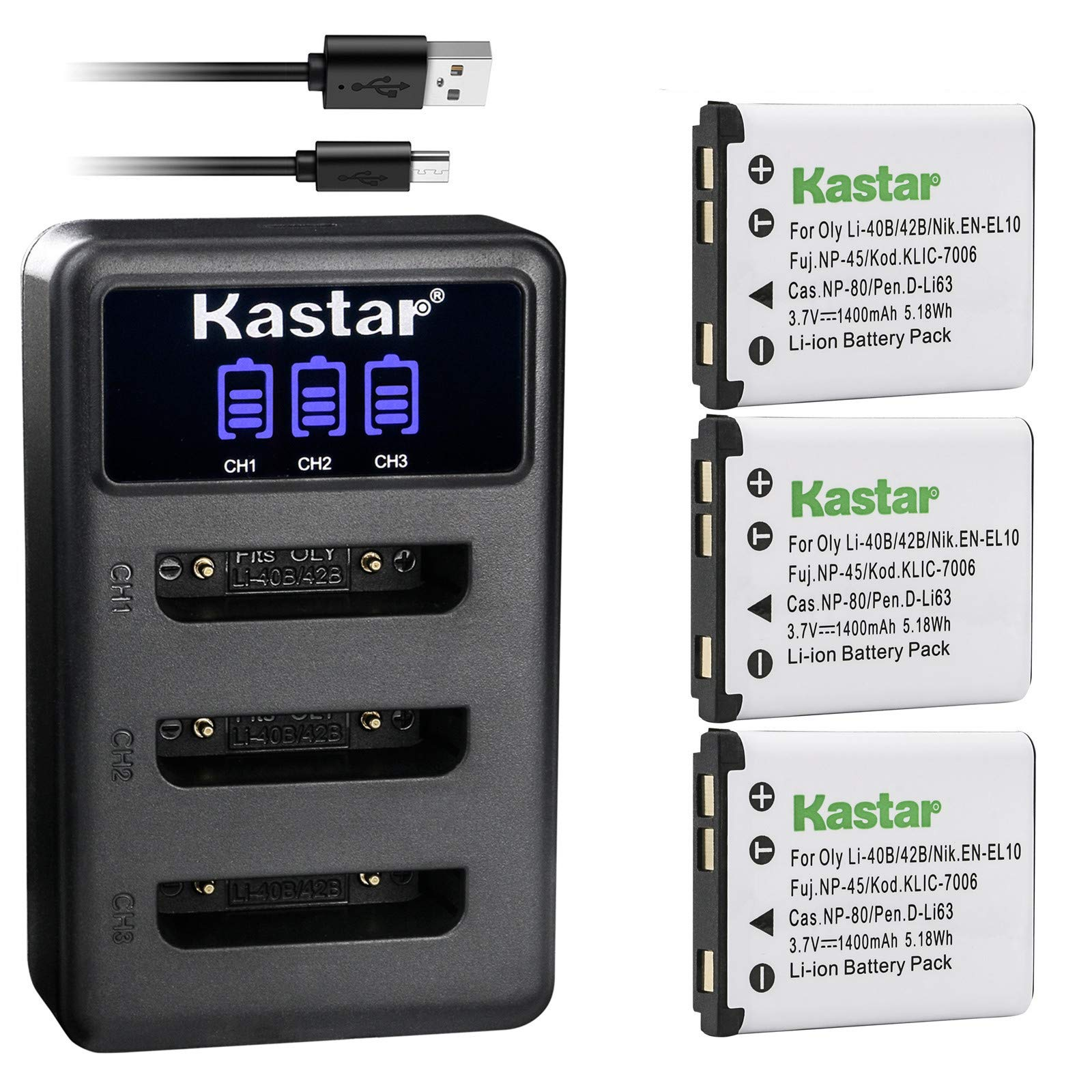 Kastar Battery 3-Pack + LCD Triple Charger Replacement for Olympus LI-42B LI-40B, Fujifilm NP-45 NP-45A NP-45B NP-45S, Nikon EN-EL10, Kodak KLIC-7006, Casio NP-80, Pentax D-Li63 D-Li108, Ricoh DS-6365