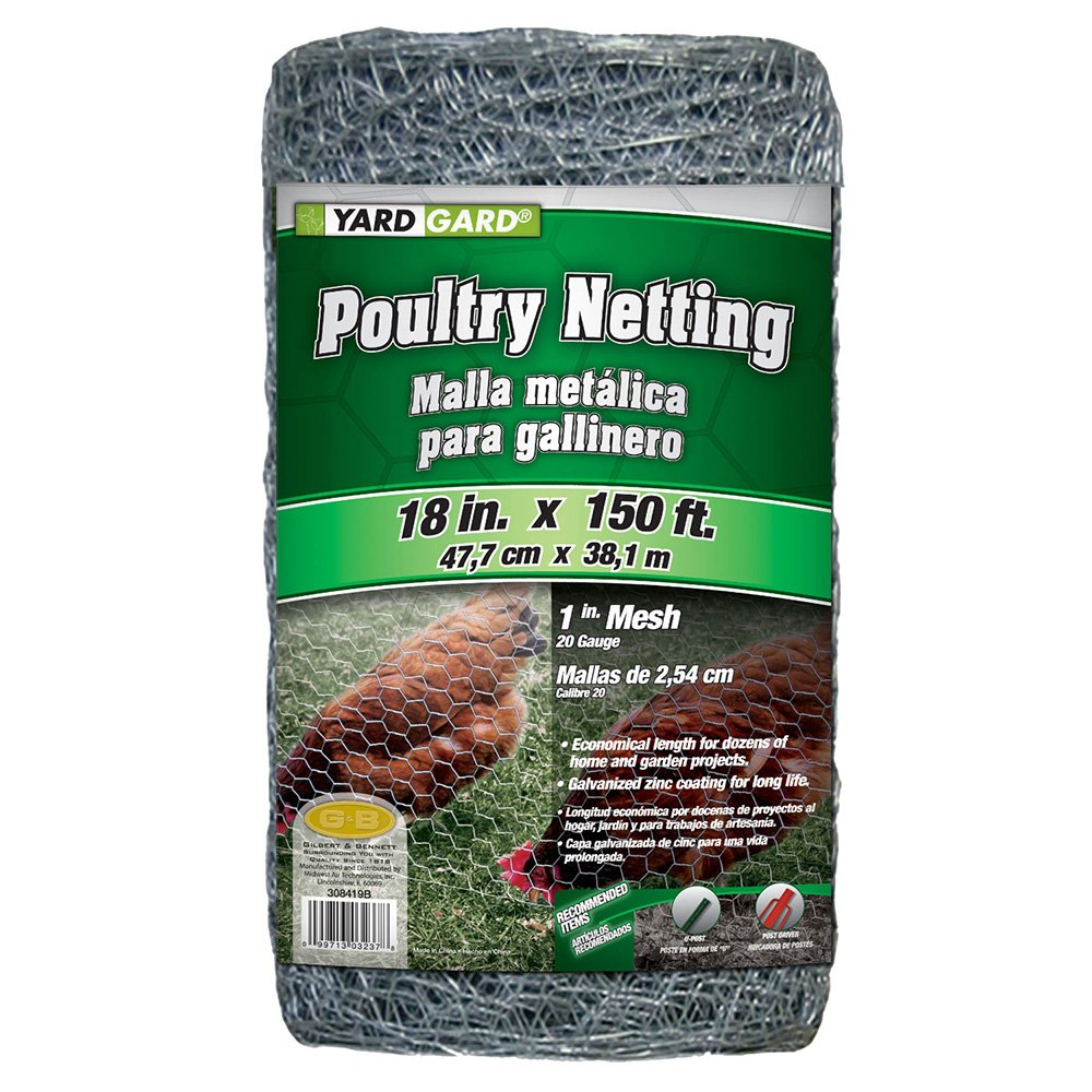 YARDGARD 308419B 1.5 Foot X 150 foot 1 Inch Mesh Poultry Netting