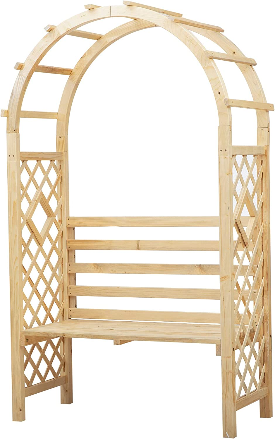 Outsunny Wood Garden Arch with Bench Pergola Trellis for Vines/Climbing Plants, Perfect for The Backyard & Outdoor Space