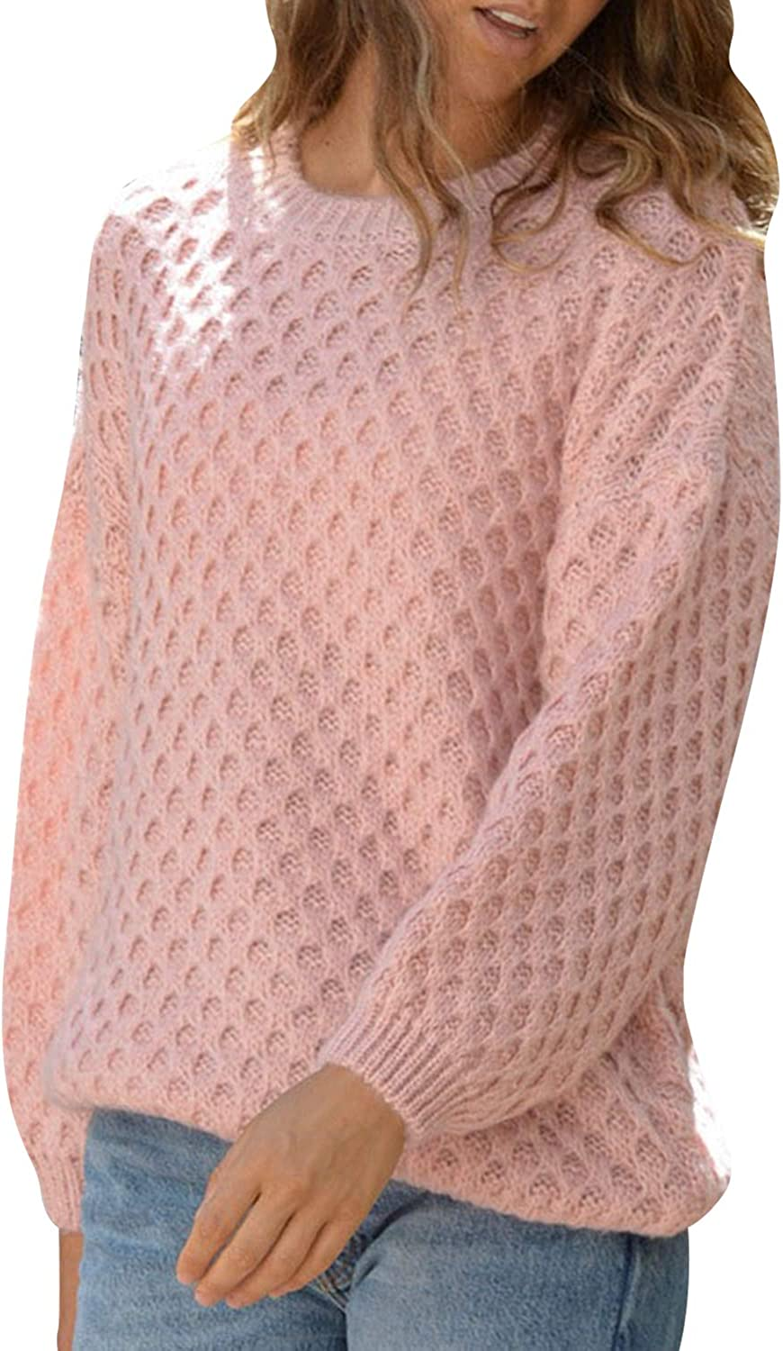 Simplee Women's Crew Neck Loose Fit Knit Waffle Pullover Sweater Casual Jumper Tops