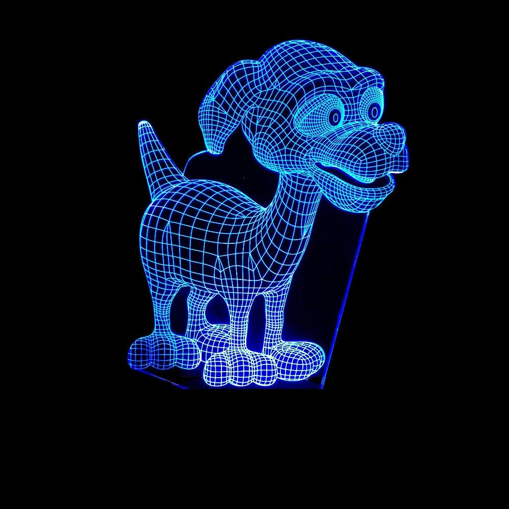 YWYU 3D Night Light LED Illusion Lamp 7 Colors Gradually Changing Puppy Light USB Touch Switch Decorative Bedside Lamp Remote Control for Boys Girls Toys Gifts (Color : Black, Size : Touch Switch)