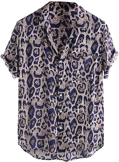 Camisa de Hombre Básico Botones Verano Hawaiana Camisas de Manga Corta Casual Estampado Leopardo Camisetas Vintage Suelto Blusa Polos Shirt Cuello Vuelto Playa Ropa con Bolsillo: Amazon.es: Ropa y accesorios