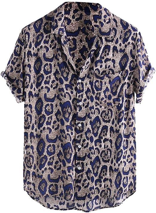XuanhaFU Camiseta Hombre de Verano, Camisa De Manga Corta con Bolsillo De Leopardo: Amazon.es: Ropa y accesorios