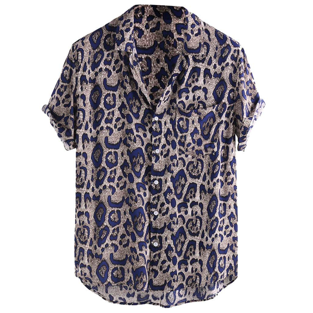Men's Loose -fit Short-Sleeve Leopard Print Chest Pocket Shirt Lightweight Button Down Shirt Tee Blue by Jhualeek