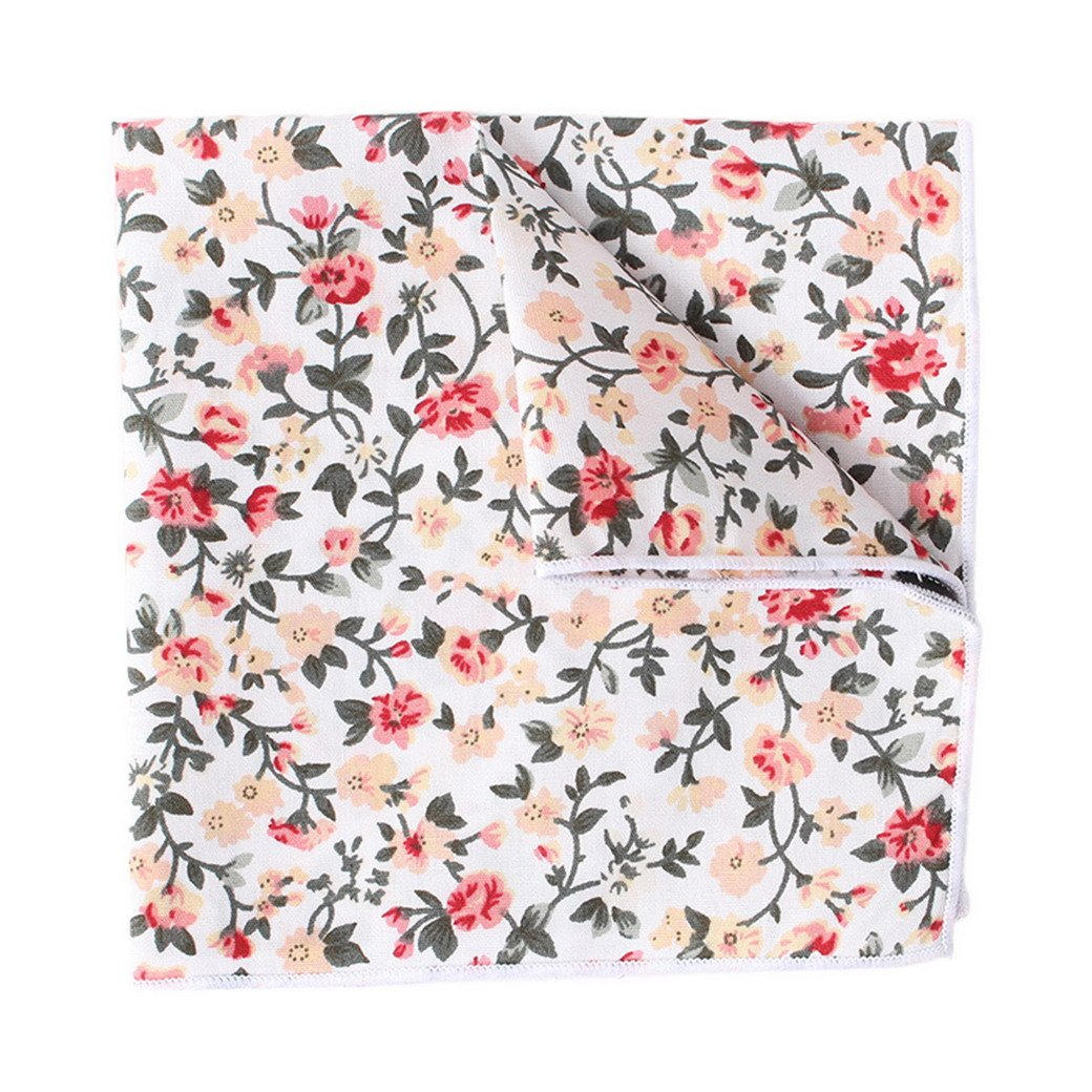Men's Pocket Square Cotton Floral Printed Formal Handkerchief Vintage Kerchief White Panegy