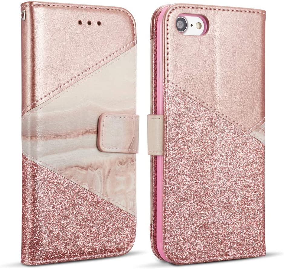 ZCDAYE Wallet Case for iPhone 5/5S/SE,iPhone 5/5S/SE Cover,Premium PU Leather [Magnetic Closure] [Ceramic Pattern] [Card Slots] [Kickstand] Folio Flip Case Cover for iPhone 5/5S/SE - Rose Gold