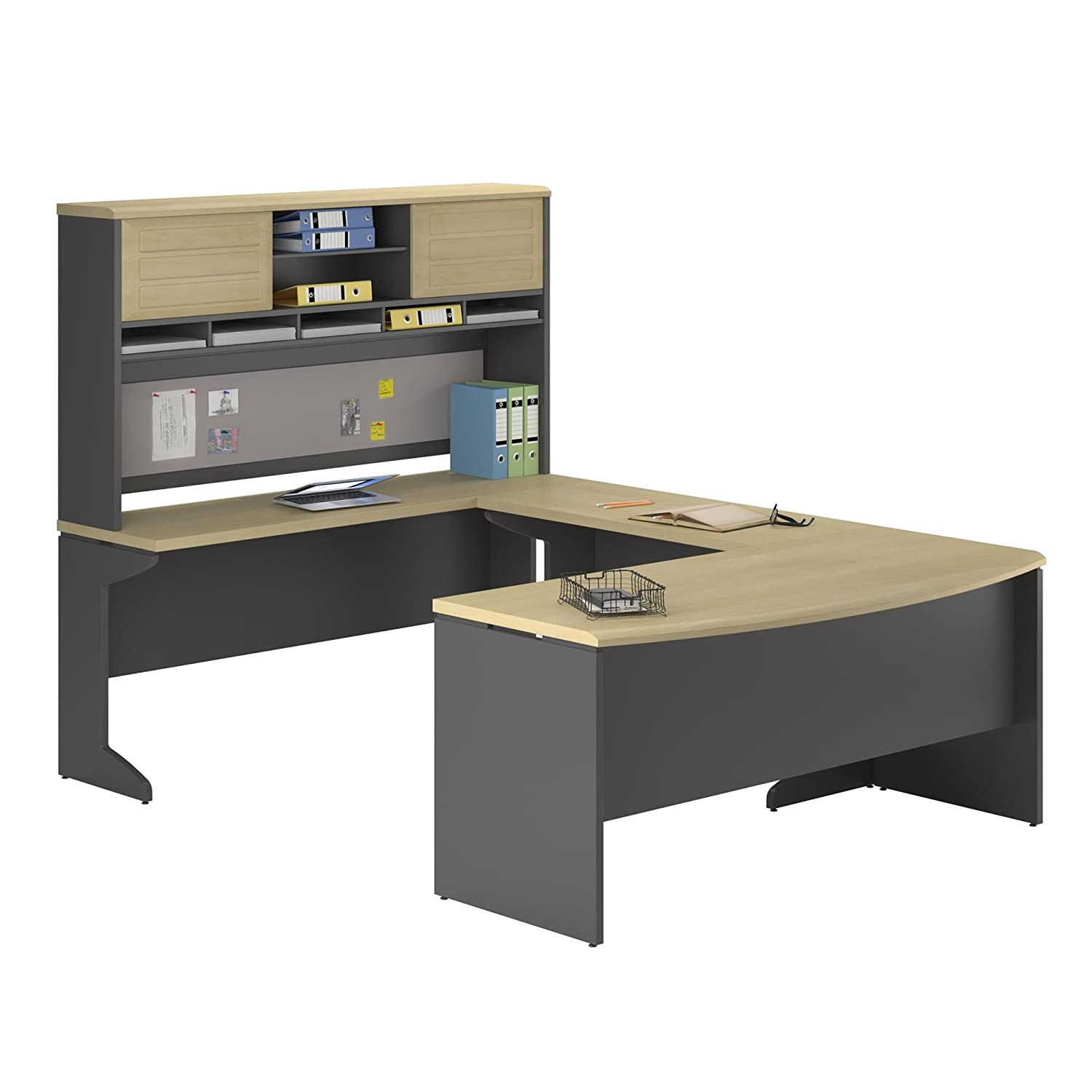 m mayline and series cabinet desk hutch u typical storage shaped furniture with raw brighton